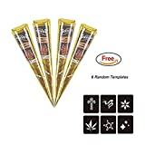 Temporary India Tattoo Kit, Pack of 4 Black Paste Cone Indian Body Art Painting Drawing