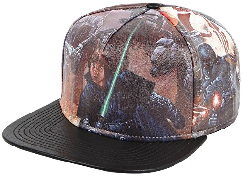 Classic Star Wars Printed PU Faux Leather Snapback Ball - Leather Wars Star Hat