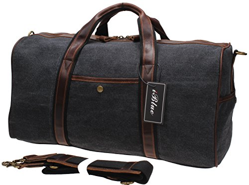 Cheap Iblue Canvas Weekender Duffel Tote Leather Trim Travel Luggage Sports Gym Bag 21in #i521 (XL, grey)