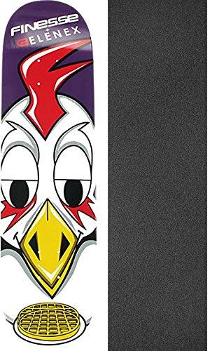 Finesse スケートボード Elenexチキン&ワッフル スケートボードデッキ - 8.25インチ x 31.75インチ モブグリップ穴あきグリップテープ付き - 2点セット   B07CYKH6Q4, Donguriano Wine 3387c945