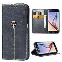 Samsung Galaxy S6 Phone Case, Galaxy S6 Wallet Case, iDoer Slim Luxury Classic Magnetic Closure Wallet with Built-in Kickstand Folio Case for Galaxy S6 Gray