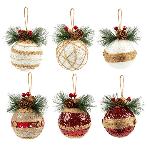 Juvale 6-Pack Christmas Tree Decorations - Small Christmas Decoration Rustic Ornaments, Festive Embellishments - 2.9 x 5.4 x 2.9 inches (Rustic Holiday Decor)