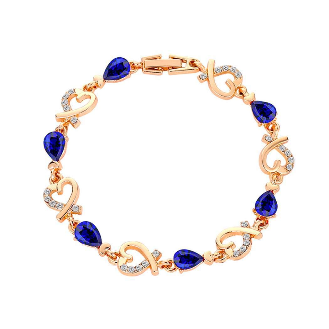 Zimrio Women Crystal Love Heart Bracelet