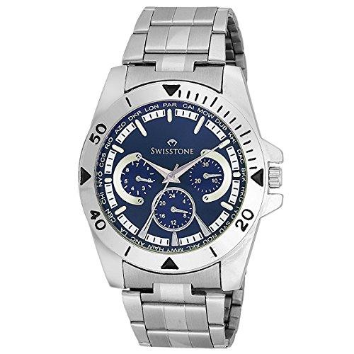 Swisstone Blue Dial Stainless Steel Chain Watch for Men/Boys- ST-GR016-BLU-CH