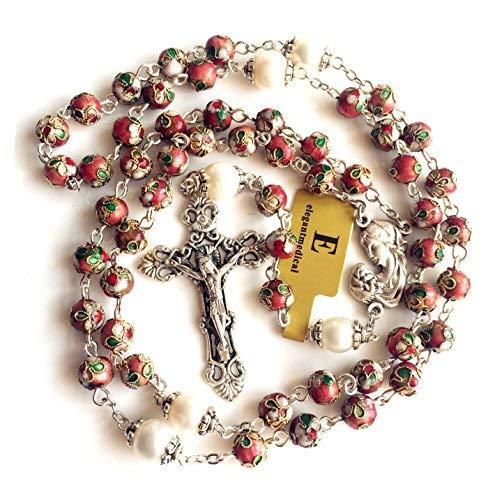 elegantmedical Pink Cloisonne & 10mm Pearl Beads Rosary Nice Crucifix Cross Necklace Catholic