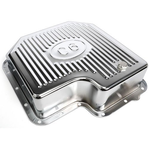 Trans-Dapt Performance 9109 Chrome Transmission Pan Ford C-6 Finned 1.75 in. Depth Extra Capacity Chrome Transmission Pan
