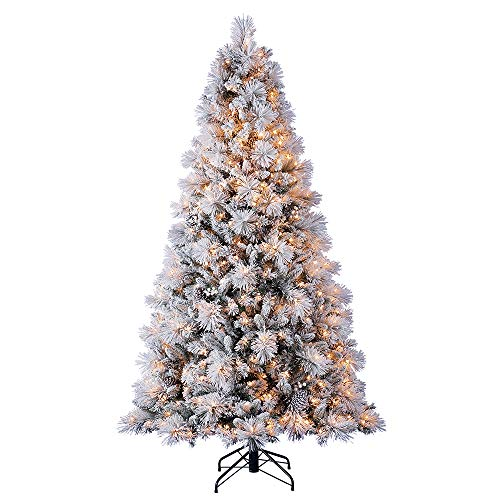 7.5 Foot Snowy Spruce Artificial Christmas Tree with Lights