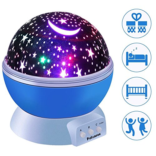 Petcaree Constellation Rotating Star Projector Lamp with 4 Colours and 360 Degree Moon Star (Night Sky In My Room)