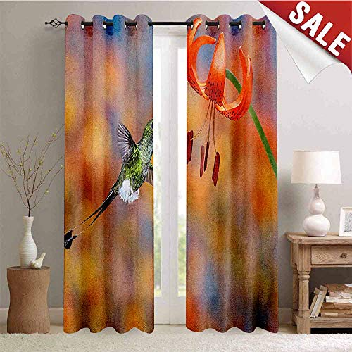 Hummingbird, Window Curtain Fabric, The Booted Racket Tail Feeding Nectar from Tiger Lily Blur Background Photo, Drapes for Living Room, W72 x L96 Inch Orange Green (Lily Tiger Drapes)