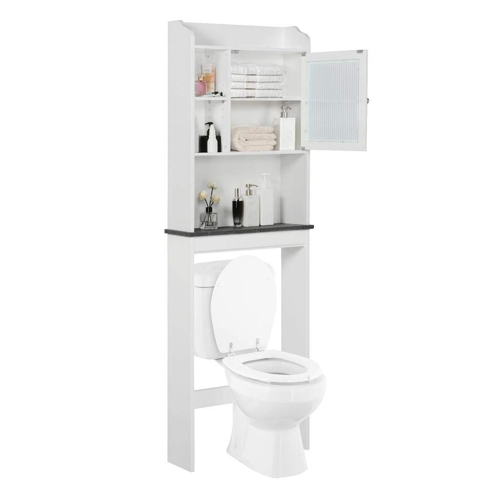 Yaheetech Over The Toilet Cabinet Space-Saving - Bathroom Freestanding Cabinet w/Adjustable Shelves, 23.2'' L x 7.4'' W x 68.9'' H