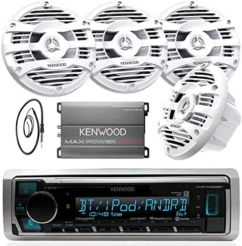 New Kenwood Marine Boat Yacht Bluetooth Digital USB AUX iPod iPhone AM FM Radio Stereo Player With 4 X 6.5 Inch Kenwood Marine Audio Speakers Kenwood KAC-M1804 Compact 4-channel Marine Amplifier And Enrock Marine 45 Antenna – Complete Marine Outdoor Aud
