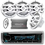 New Kenwood Marine Boat Yacht Bluetooth Digital USB AUX iPod iPhone AM/FM Radio Stereo Player With 4 X 6.5' Inch Kenwood Marine Audio Speakers Kenwood KAC-M1804 Compact 4-channel Marine Amplifier And Enrock Marine 45' Antenna - Complete Marine Outdoor Aud