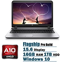 HP ProBook 455 G3 Flagship High Performance 15.6 inch HD Laptop PC, AMD A10-8700P Quad-Core, Radeon R6 Graphics, 16GB RAM, 1TB HDD, DVDRW, Bluetooth, WIFI, Windows 10, Black
