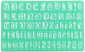 Linex - Plantilla para estarcir (30 mm, tipografía Old English, 2 unidades), color verde