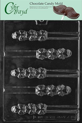 Cybrtrayd P021 Shamrock Pretzel Chocolate Candy Mold with Exclusive Cybrtrayd Copyrighted Chocolate Molding Instructions plus Optional Candy Packaging Bundles