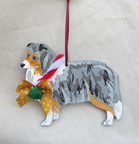 (Hand-Painted SHELTIE BLUE MERLE w/Bow Wood Christmas Ornament)