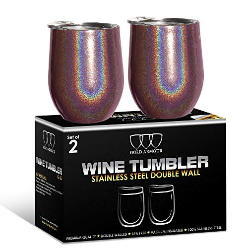 - 2Pack Stainless Steel Stemless Wine Glass Tumbler with Lid, 12 oz | Double Wall Vacuum Insulated Travel Tumbler Cup - Sweat Free, Unbreakable, BPA Free (Shimmer: Merlot)