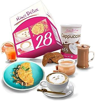 Régimen Adelgazante Hiperproteico 28 días Desayuno Cappuccino Paquete 66 productos 1 coctelera y 1 guía de regalo – pérdida de peso optimizada en 4 ...