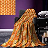 smallbeefly Hamsa Throw Blanket Henna Hand Motif Spiritual Mystic Symbol Ancient Arabian Hippie Oriental Warm Microfiber All Season Blanket Bed Couch 50''x30'' Orange Yellow White