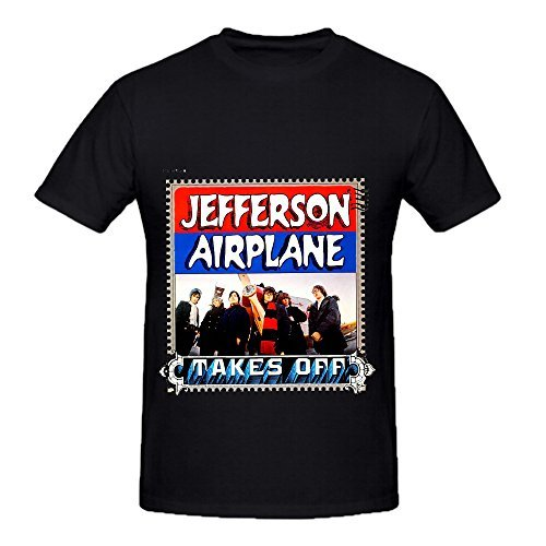 Jefferson Airplane Takes Off Rock Mens Round Neck Diy Tee Black