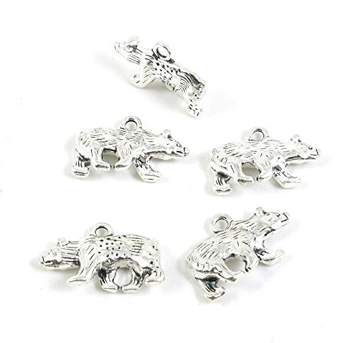 20 Pieces Antique Silver Tone Jewelry Making Charms Pendant Findings Craft Supplies Bulk Lots Arts O6GP5 Bear ()