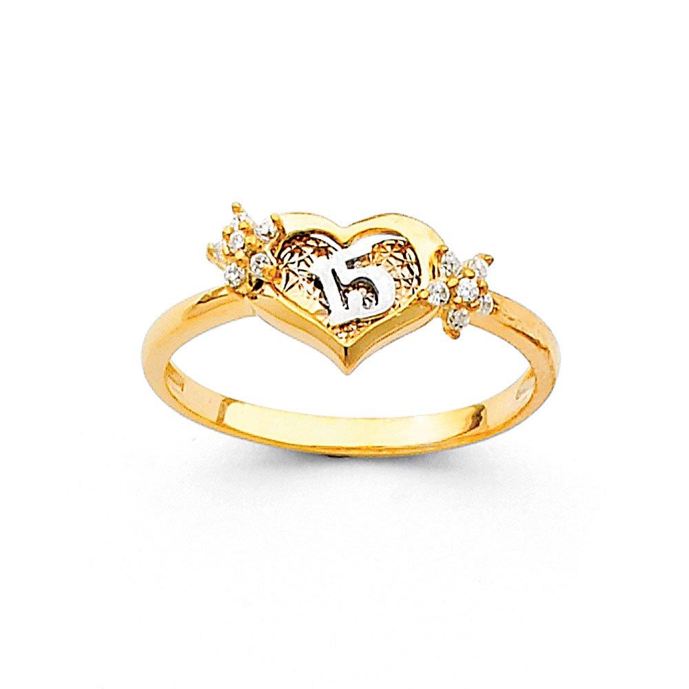 FB Jewels 14K Yellow Gold Fifteen 15 Years Birthday Quinceañera Cubic Zirconia CZ Fashion Anniversary Ring Size 5