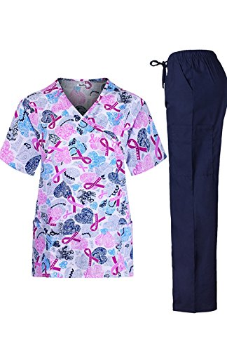 MedPro Women's Medical Scrub Set with Printed Wrap Top and Cargo Pants Pink Navy S