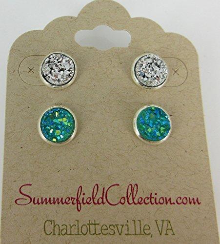 duo-silver-tone-sea-aqua-faux-druzy-stone-stud-earrings-8mm-set