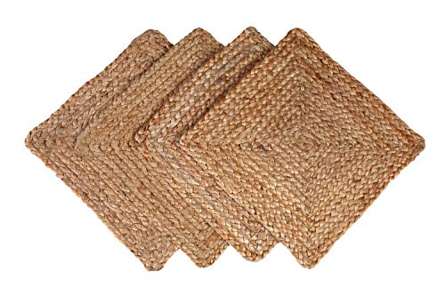 GLAMBURG Jute Braided Placemats Set of 4 Reversible, 100% Jute, Nonslip 14x14 Square Farmhouse Vintage Jute Placemats for Dining Table, Perfect for Indoor Outdoor, Natural (Table Placemats For Square Small)