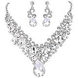 BriLove Women's Bohemian Boho Crystal Teardrop Marquise Butterfly Filigree Statement Necklace Dangle Earrings Set
