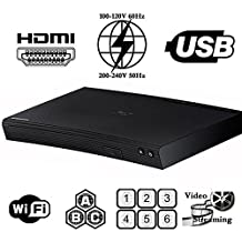 2015 SAMSUNG BD-J5100 (Curved Design) Multi System Region Free Blu Ray Disc DVD Player - PAL/NTSC - USB - 100-240V 50/60Hz for World-Wide Use & 6 Feet HDMI Cable