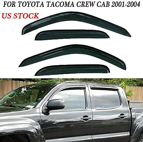 Window Door Visors Shade Vent Rain Guard for Toyota Tacoma Crew Cab 4-Dr 01-04