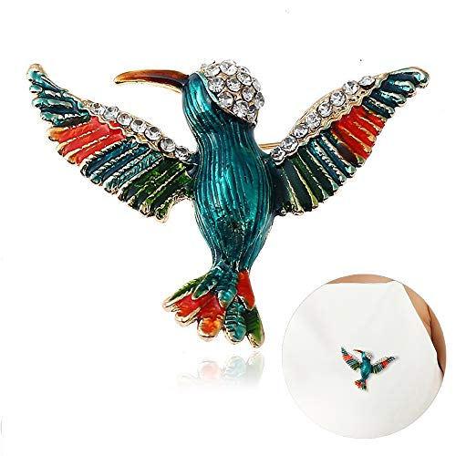 ipping Hummingbird Brooch Court Style Crystal of Enamel Cloisonne Animal Brooch (Blue) ()