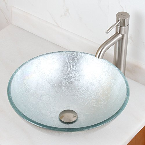 ELITE Tempered Bathroom Glass Vessel Sink With Silver Wrinkles Pattern Single Lever Nickel Faucet Combo