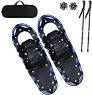 Qdreclod 25/27/30 Inches Light Weight Snowshoes for Women and Men, Non-Slip Aluminium Crampons Snow Shoes with
