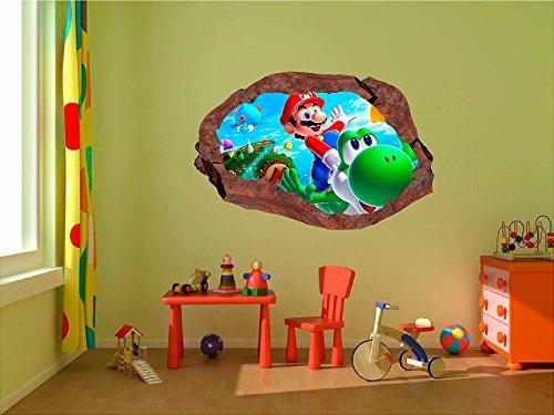 Super Smash Bros Mario Characters 3D Window Rock Decal Wall Sticker Art Mural a