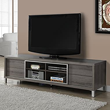 Monarch Specialties Dark Taupe Reclaimed-Look Euro TV Console, 70-Inch