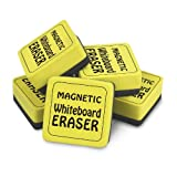 The Pencil Grip The Classics Magnetic Whiteboard Dry Erasers (12), 2 X 2-Inch, 12 Pack, Yellow/Black (TPG-355)