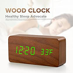 Desk Clock/Wood Alarm Clock,Battery Charging,Leaf Green Font,Bedroom Sleep Function,Stay Away From Radiation and Noise,℉ Display.