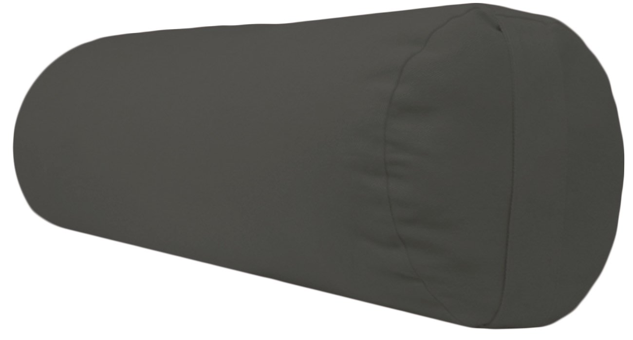 YogaAccessories Supportive Round Cotton Yoga Bolster (Dark Gray)