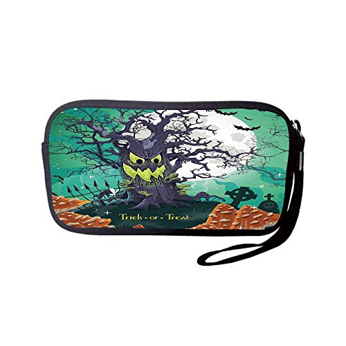 - Neoprene Wristlet Wallet Bag,Coin Pouch,Halloween Decorations,Trick or Treat Dead Forest with Spooky Tree Graves Big Kids Cartoon Art,Multi,for Women and Kids