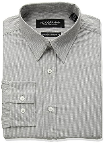 Nick Graham Men's Micro Dot Print Stretch Dress Shirt, Grey, 14.5