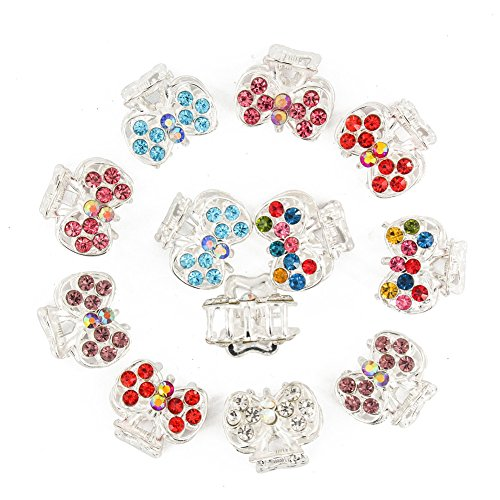 Crystal Claw Set (Yeshan Set of 12pcs Silver Bow Design Metal Mini Claw Clip,with Rhinestone and Crystal Jaw Hair Clip)