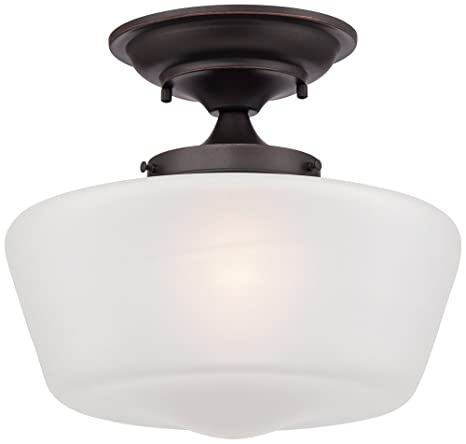 Beau Schoolhouse Floating 12u0026quot; Wide Bronze Opaque Ceiling Light