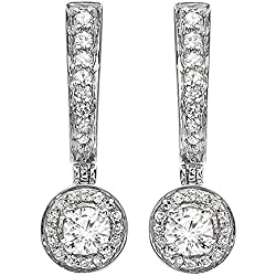 0.50 Carat (ctw) 14k White Gold Round Ladies Fine Dangling Drop Earrings 1/2 CT