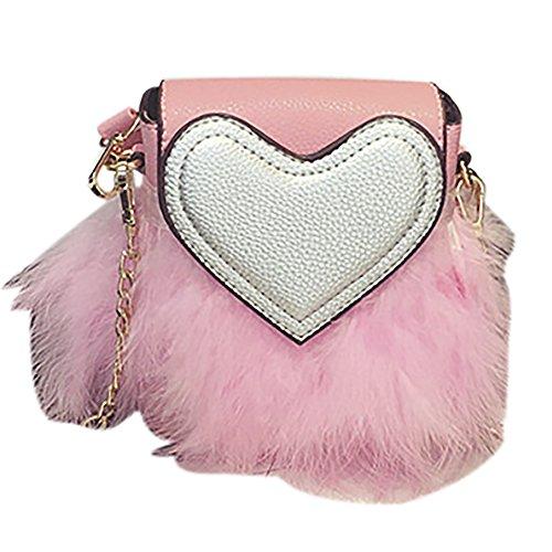 Bag Faux Clutch Shoulder Pink QZUnique Fur Handbag Furry Women's Zipper Purse q1OIZw