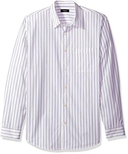 Vertical Woven Stripe Shirt (Theory Men's Long Sleeve Pinstripe Woven, Ink/Multi, L)