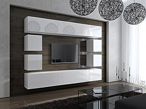Homedirectltd Future 17 Moderne Wohnwand Exklusive Mediamobel Tv Schrank Garnitur Grosse Farbauswahl Weiss Mat Base Weiss Hg Front