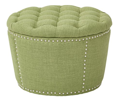 Office Star Lacey 2-Piece Nesting Storage Ottoman with Tufted Top and Nailhead Accents, Milford Grass