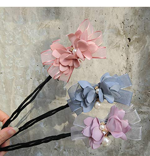 3Pcs Magic Hair Bun Maker Flower Bow Pearl Donut Bun Maker for Women DIY Hair Style Curler Accessories